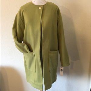 New Kenneth Cole green long coat large pockets